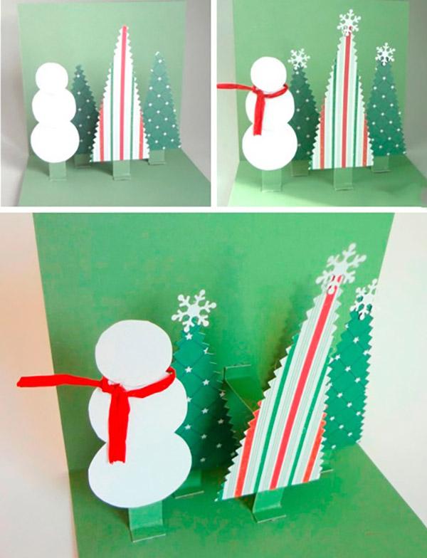Три д открытка своими руками новогодние