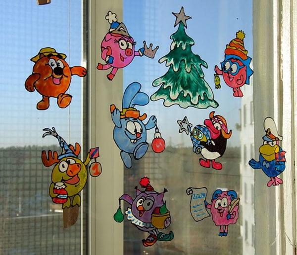 рисунок на стекле к новому году ещё прощальное фото